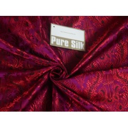 viscose SILK BROCADE vestment FABRIC Pink & Red color 44""