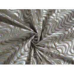 Spun Silk Brocade Fabric Beige & Metallic Silver 44""