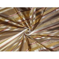 SILK TAFFETA Fabric Gold & Wine color with Satin STRIPES 54""