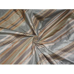 SILK TAFFETA Fabric Multi color with Satin STRIPES 54""