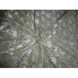 JACQUARD SILK ORGANZA FABRIC METALLIC SILVER & Light dusty Olive