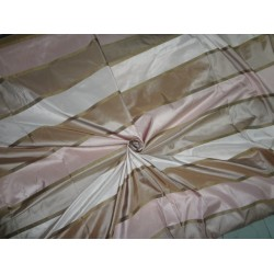 SILK TAFFETA FABRIC Light Pink & Dark Pink with Brown jacquard stripes