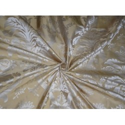 "Silk taffeta jacquard fabric Dark Cream & Gold 54"" wide-Damask fabric"