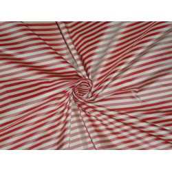 SILK TAFFETA Fabric Red & Cream color STRIPES 54""