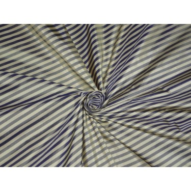 SILK TAFFETA Fabric Dark Blue & Cream color STRIPES 54""
