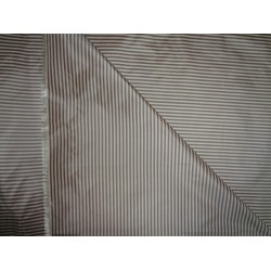 SILK TAFFETA Fabric Wine x Brown & Cream color STRIPES 54""