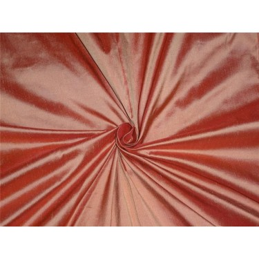 PURE SILK DUPIONI FABRIC RUSTY RED