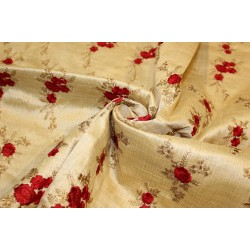 """1.50 yards POLYESTER  DUPIONI  FABRIC 44"""" GOLD with embroidered red flowers and metallic gold leaves"""