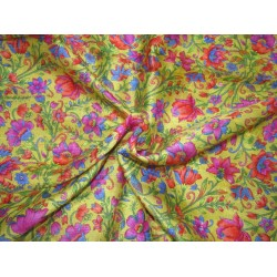 """100% silk  Dupion fabric mustard gold with  multi color floral  print 40"""" SLUBS DupPr41[4]"""