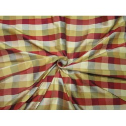 "100% SILK Dupioni FABRIC 54"" wide  multi color  plaids single length 2 yards DUPC110[0]"