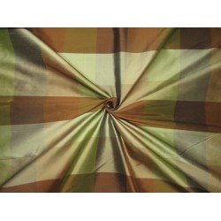 "100% PURE SILK DUPIONI  FABRIC PLAIDS  shades of browns and greens 54""  DUPC111[2]"