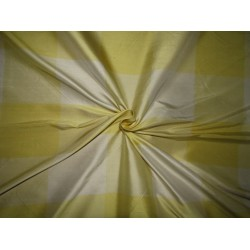 "100% PURE SILK DUPIONI  FABRIC yellows and creams PLAIDS 54""  DUPC110[8]"