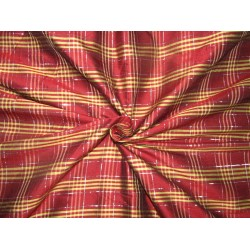 100% PURE SILK DUPIONI PLAIDS wine yellow with silver  lurex  FABRIC 54 DUPC112[4]
