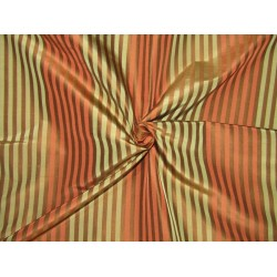"100% PURE SILK DUPIONI stripes rust/olive/bronze  FABRIC 54""  DUPS65"