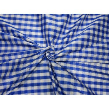 "6.20 YARDS 100% PURE SILK DUPIONI  FABRIC BLUE AND WHITE  PLAIDS 54""  DUPC115[4]"