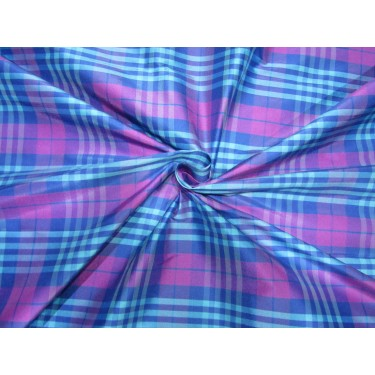 "5.88 YARDS 100% PURE SILK DUPIONI  FABRIC BLUE PINK LAVENDER  PLAIDS 54""  DUPC115[3]"