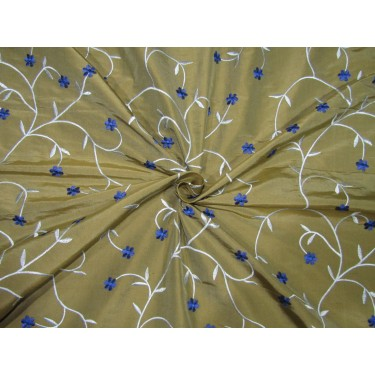 "100% SILK DUPION  KHAKHI GOLD WITH BLUE AND ROYAL BLUE  FLORAL EMBROIDERY 54""DUPE61[1]"