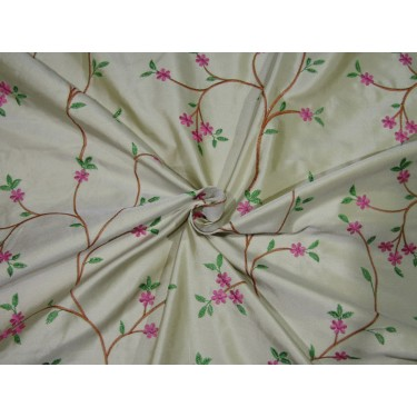 "100% SILK DUPION  dark cream with   pink green and brown FLORAL EMBROIDERY 54""DUPE61[3]"