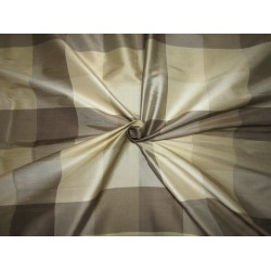 "100% PURE SILK DUPIONI  FABRIC multi color shades of  gold and grey PLAIDS 54""  DUPC113[3]"