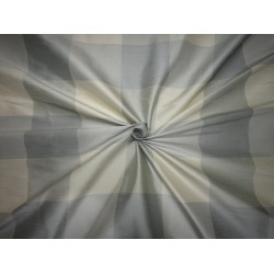 "100% PURE SILK DUPIONI  FABRIC multi color shades of pastel blueish grey and cream PLAIDS 54""  DUPC113[1]"