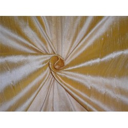 "100% PURE SILK DUPIONI FABRIC yellow x cream 54"" mm81[6]"