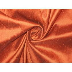 "SILK Dupioni FABRIC 44"" Dark Rusty Orange Colour"