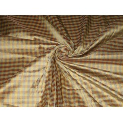 """Brown,Mustard & Blue colour plaids~Silk Dupioni fabric~Width 54"""" DUP#C4 by the yard"""
