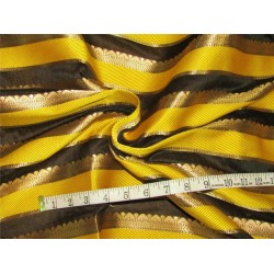 "Brocade fabric yellow, balck x metallic gold 44""wide Bro619[3]"