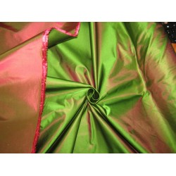 "66 momme silk dutchess satin fabric IRIDESCENT GREEN/ PINK 54"" [roll]"
