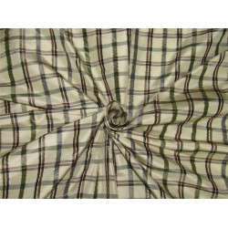 "Silk taffeta fabric checks  cream/grey black/brown /green TAF#C56[3] 54"" wide sold by the yard"