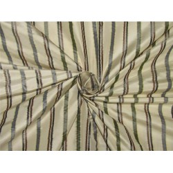 Silk taffeta fabric horizontal stripes cream/grey black/brown/greenTAFS153