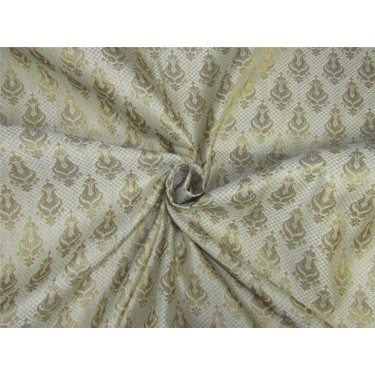 Brocade fabric ivory x metallic gold color 44'' wide Bro624[1]