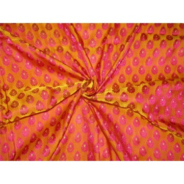 "Brocade fabric mango /pink/metallic gold color36""+ border 8'' Wide BRO623[4]"