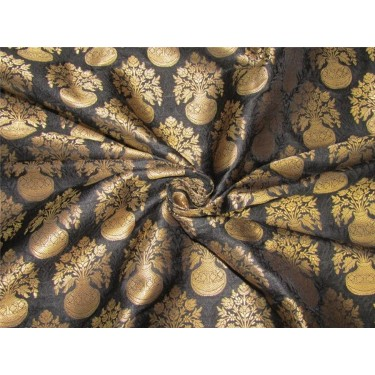 Silk Brocade fabric black x metallic gold color 44'' wide bro632[3]