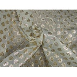 silk chanderi Brocade fabric ivory x gold 44'' wide bro631[4]