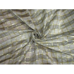 silk chanderi Brocade fabric plaids grey/ivory/gold 44'' wide bro631[1]