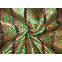 "Brocade fabric black green x metallic gold 48""wide Bro619[2]"