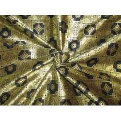 Silk Brocade fabric balck x metallic gold 44'' Bro617[4]