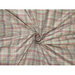 silk taffeta fabric Plaids pink / ivory / blue 54'' wide TAF#C56[1]
