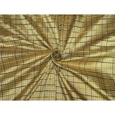 Silk Dupioni Fabric Satin plaids golden brown color 54'' width DUP#C95[3]