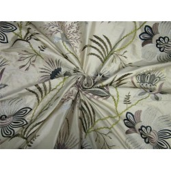 100% Silk Dupion Fabric Embroidery cream/green/blue/mauve color 54''DUP# E56[2]