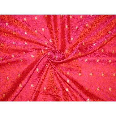 "Brocade fabric bright orange /pink/metallic gold color 44"" Wide BRO623[1]"