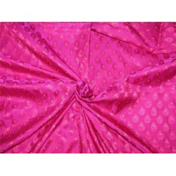 "Brocade fabric magenta /pink/metallic gold color 36"" + border 8'' Wide BRO623[2]"