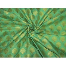 Brocade fabric pista green x metallic gold color 44'' wide Bro625[3]