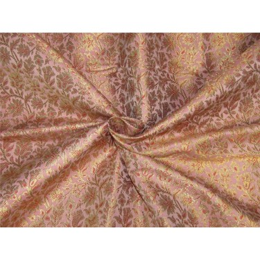 Brocade fabric dusty rose pink x metallic gold color 44'' wide bro628[3]