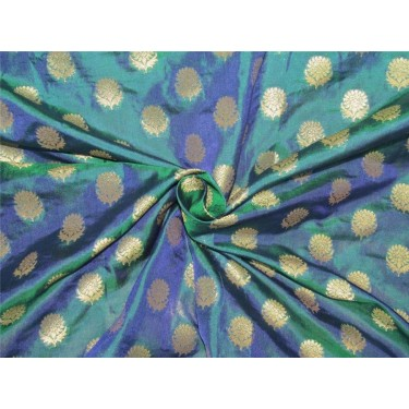 Brocade fabric kingfisher green  x metallic gold color 44'' wide bro627[1]