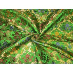 Heavy Silk Brocade Fabric Parrot Green x Metallic Gold 36'' bro633[2]