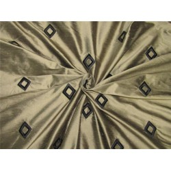 100% Silk Dupion Fabric Embroidery Gold x black color 54''DUP# E56[1]