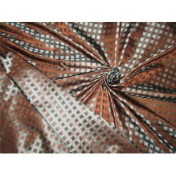 100% silk tafetta plaids brown x blueish grey color 54'' TAF#25[2]