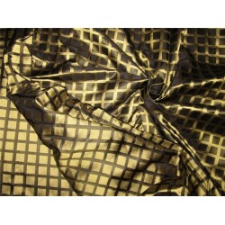 100% silk tafetta plaids gold and black color 54'' TAFC53[7]